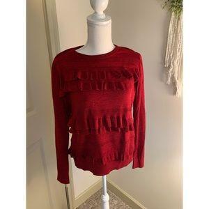 Red Diane von Furstenburg Ruffle Sweater
